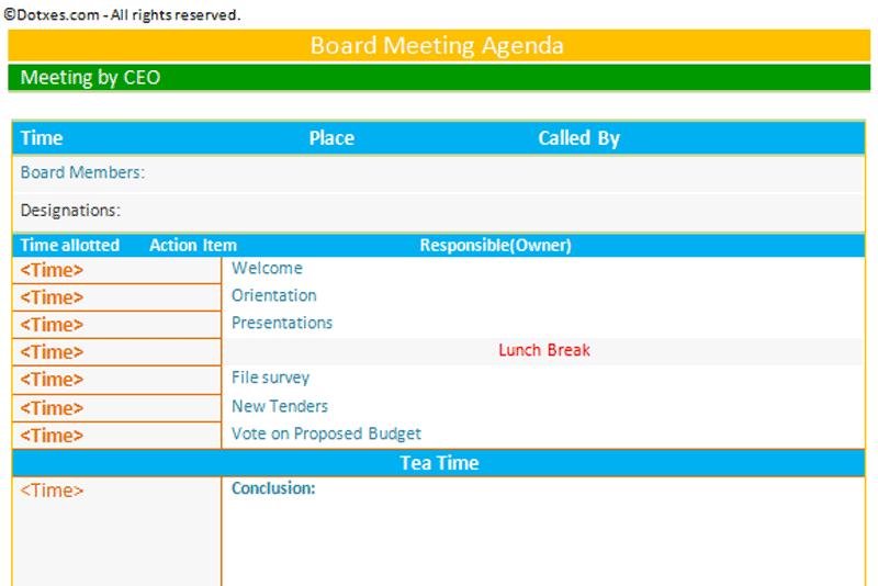 Board meeting agenda template - Dotxes