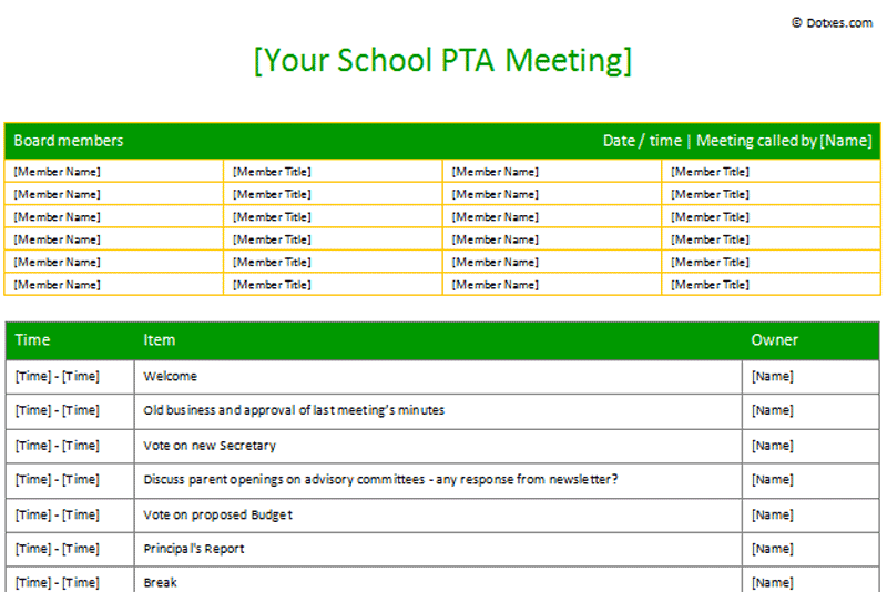 PTA Sample Meeting agenda template (Table Form) - Dotxes