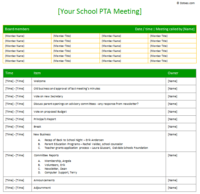 PTA Sample Meeting agenda template Table Form Dotxes