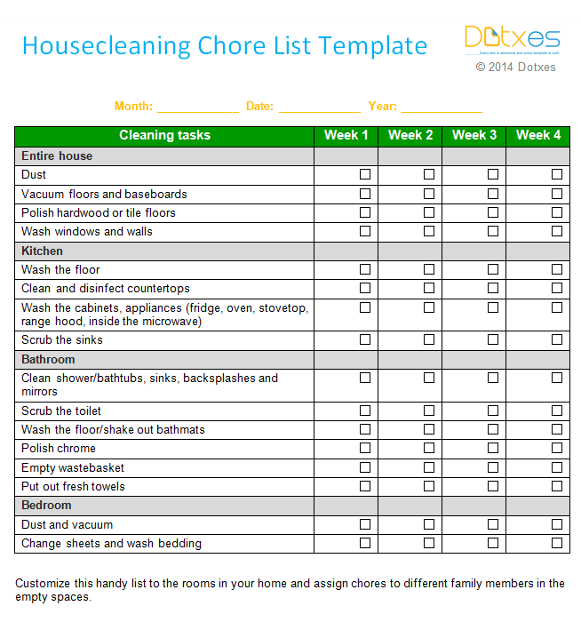 weekly house cleaning chore list template