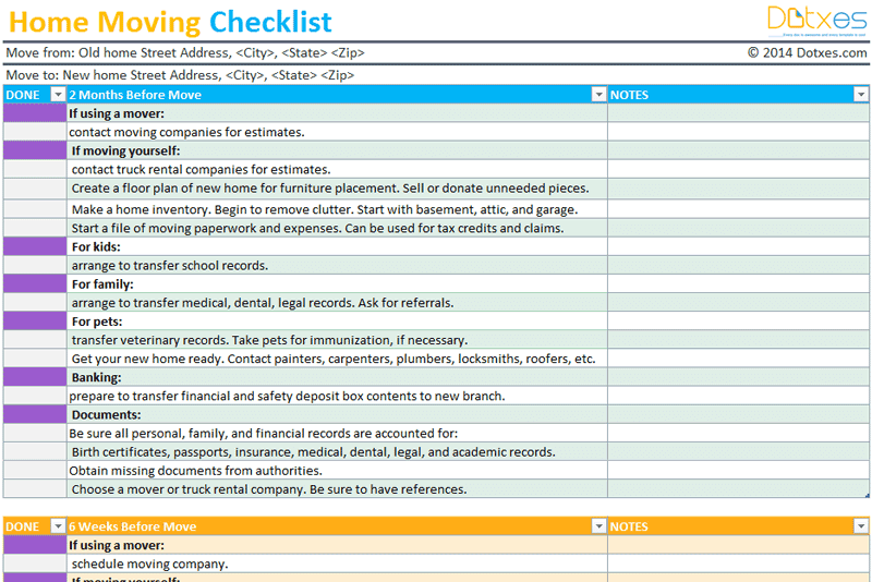 Home Moving checklist template (Professional version) - Dotxes