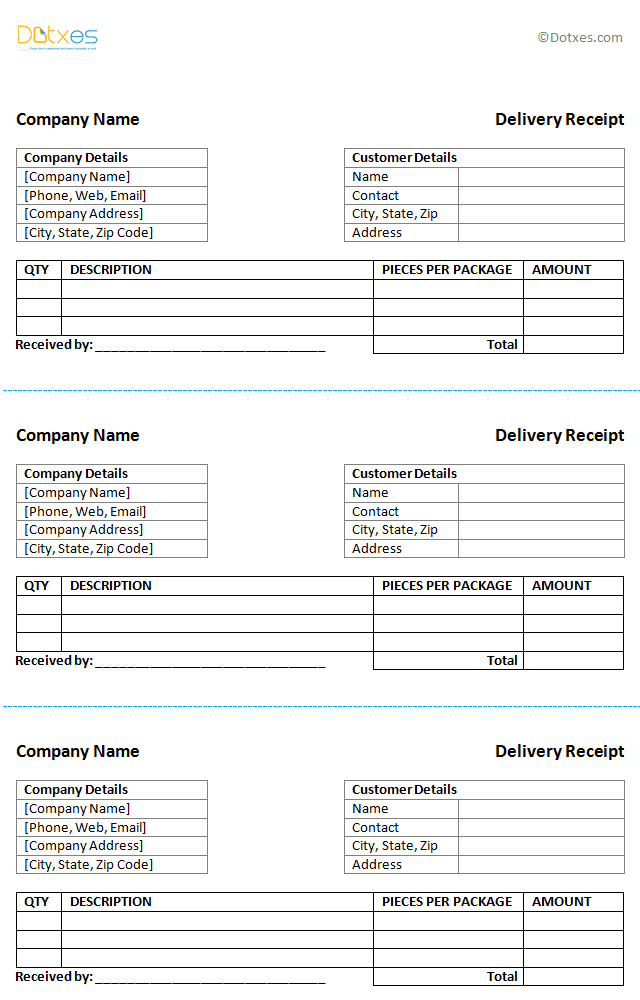Delivery Receipt Template - Dotxes