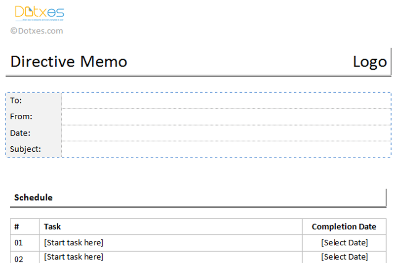 Directive Memo Template in table format featured image