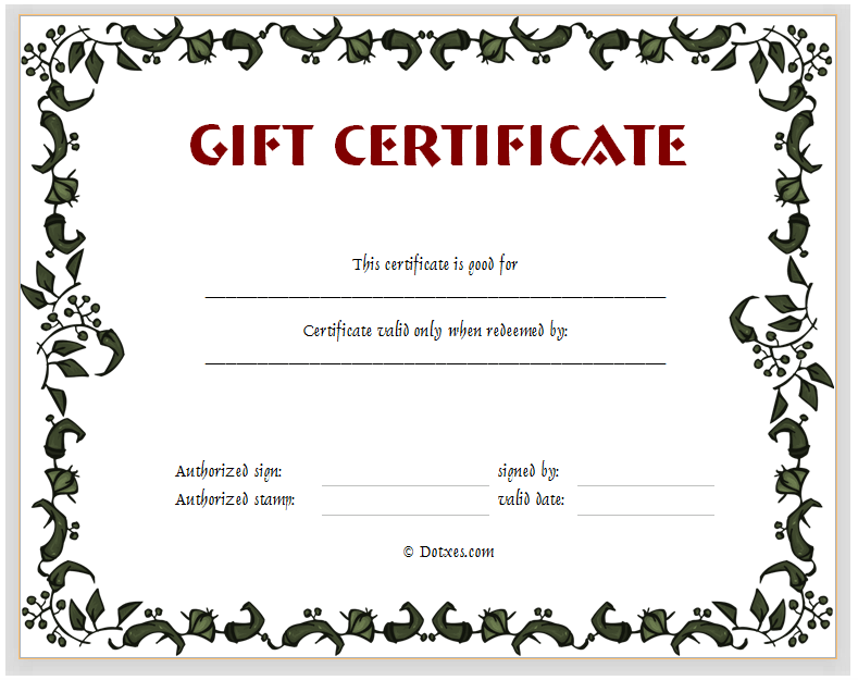Gift certificate template floral design dotxes for Downloadable gift certificate templates