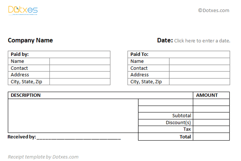 General Receipt Template 2 Per Page Dotxes