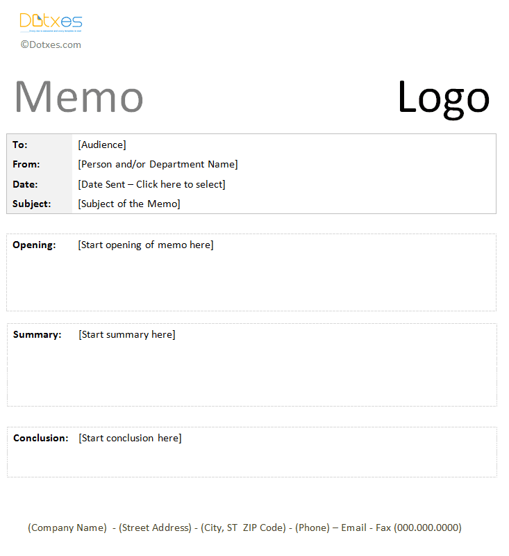 Good Casual Memo Template   Printable Letter