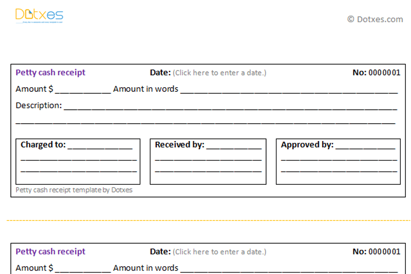 Petty Cash Receipt Template   Dotxes