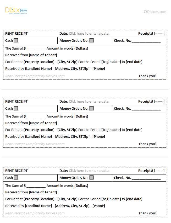 Rent Receipt Template (3 per page)