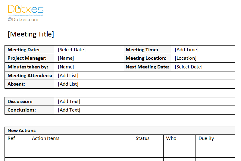 Meeting minutes template free printable formats for word for Recording minutes template