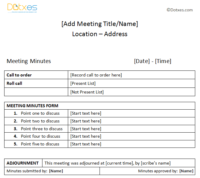 Meeting minutes sample plain table format dotxes for Recording minutes template