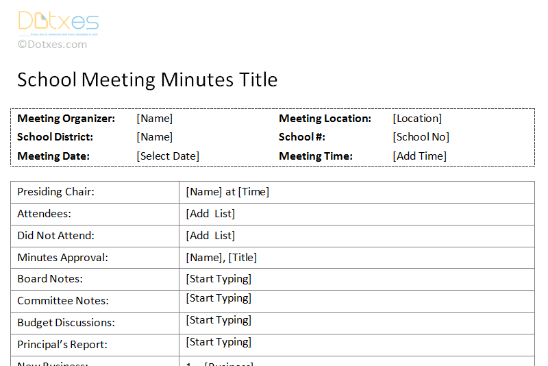 School meeting minutes template dotxes for Minute formats templates