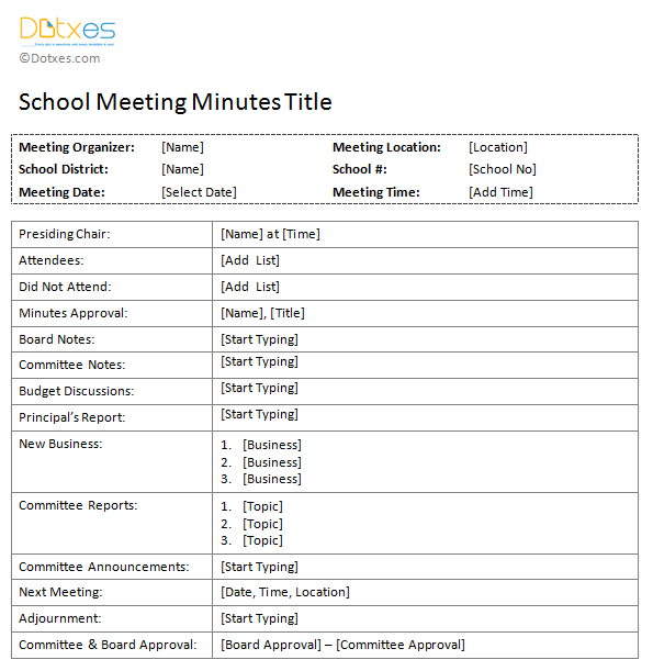 School meeting minutes template dotxes for How to take minutes at a board meeting template