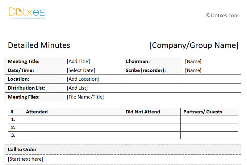 sample of minutes of meeting descriptive format dotxes