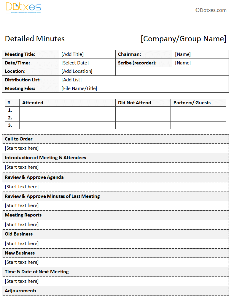 Sample of minutes of meeting descriptive format dotxes for Recording minutes template