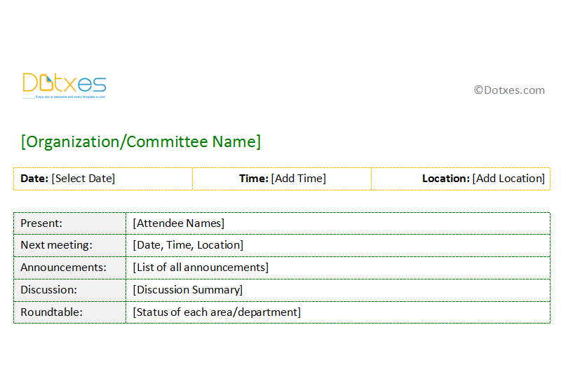 example of meeting minutes format