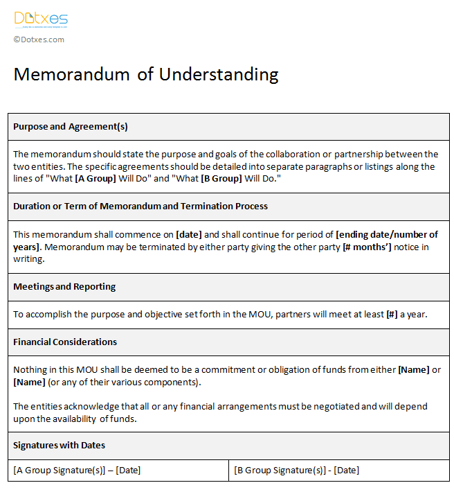 Amazing Sample Memorandum Of Understanding Template