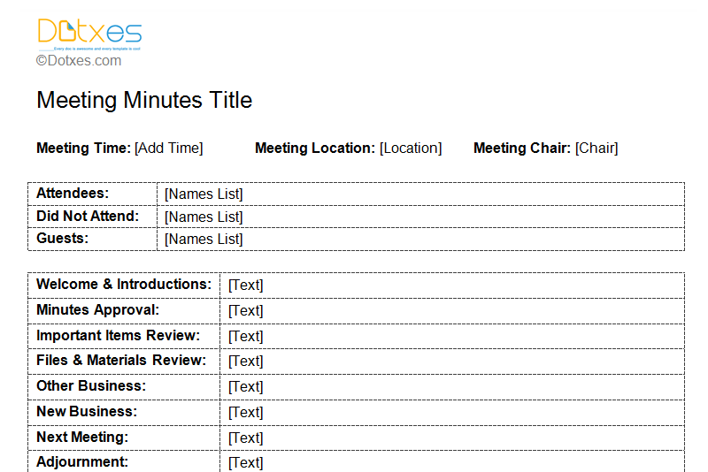 Meeting minutes template free printable formats for word for Minute formats templates