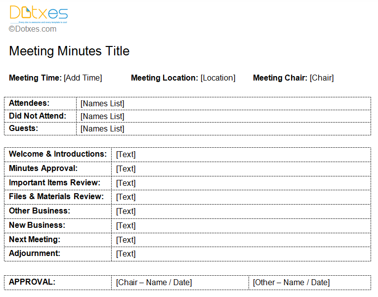 Standard meeting minutes template dotxes for Taking minutes in a meeting template