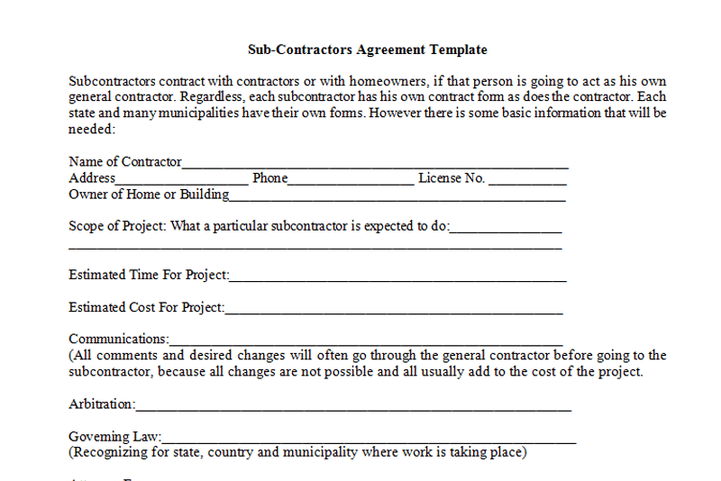 Sub Contractors Agreement Template Dotxes