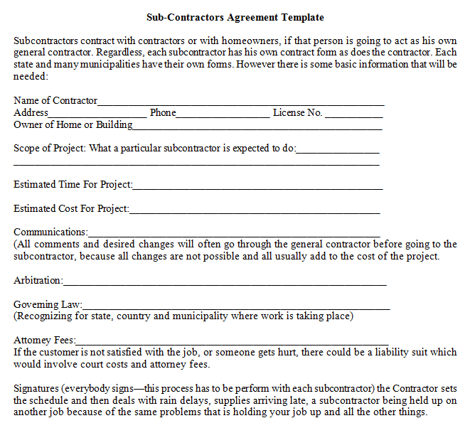 Sub contractors agreement template dotxes for Subcontractors agreement template