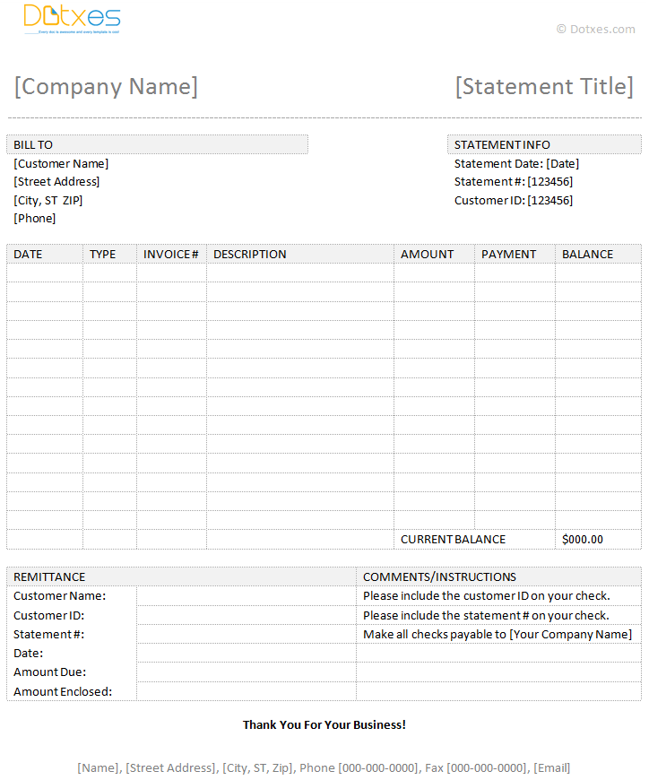 Billing Statement Template Dotxes