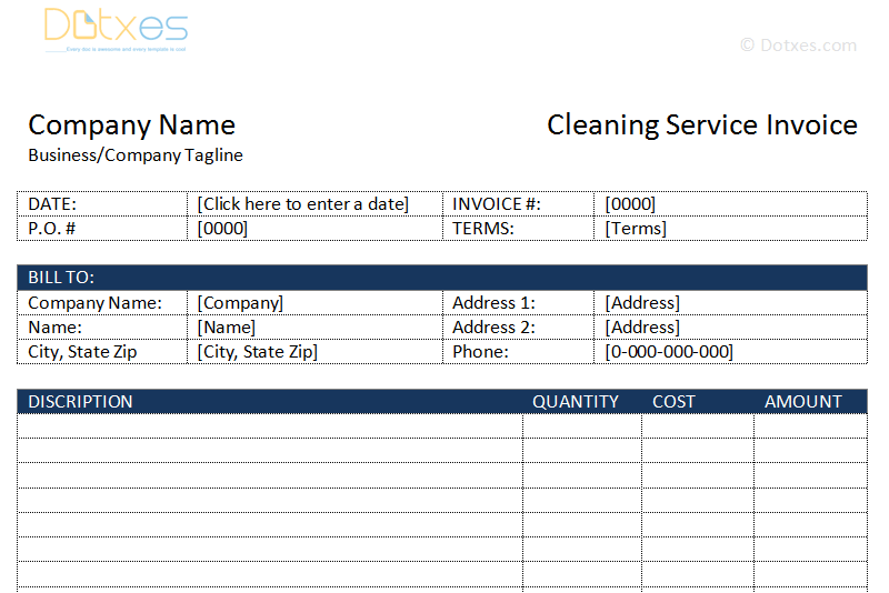 Cleaning Service Invoice Template Dotxes - Invoice template for cleaning services