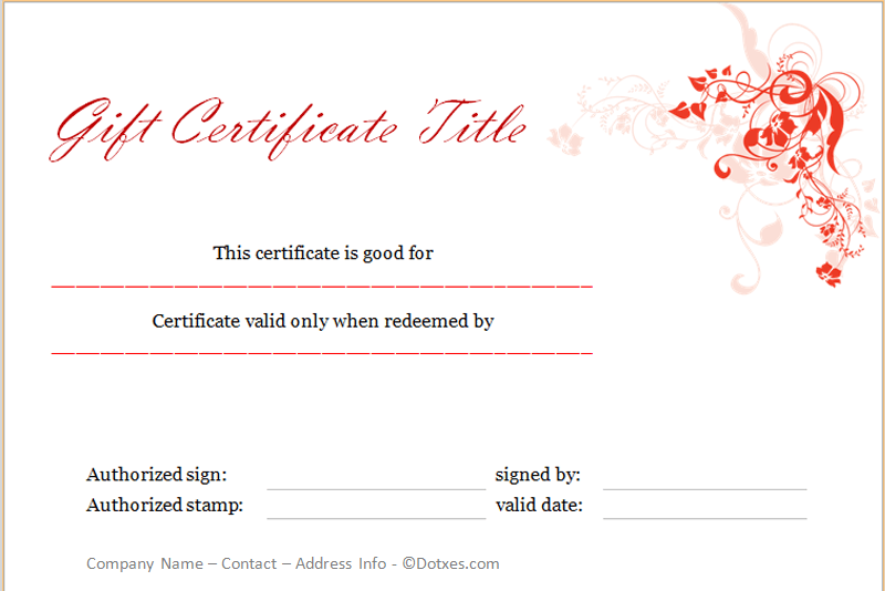 Holiday gift certificate template floral design dotxes yelopaper Image collections
