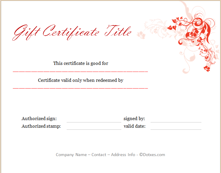 Holiday Gift Certificate Template Floral Design Dotxes - Holiday gift certificate template free