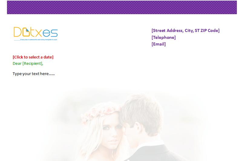 wedding letterhead template dotxes