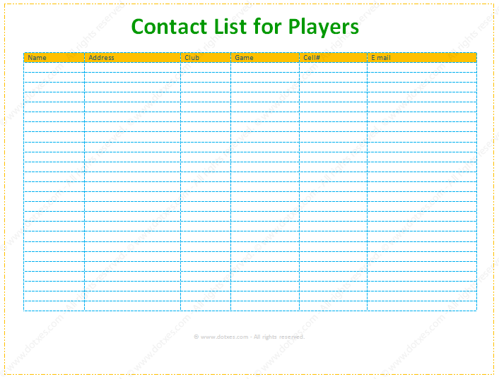 Contact And Phone List Template For Supports Dotxes