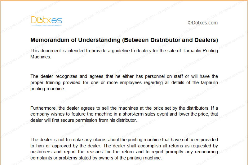 Memorandum of understanding sample template between distributor and dealers featured image