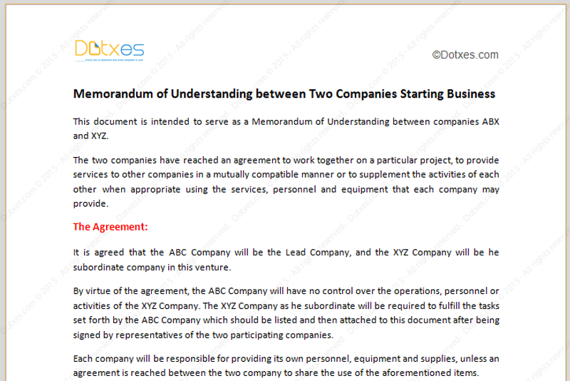 memorandum of understanding template starting business