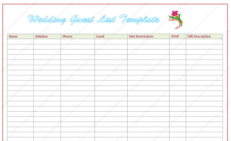 wedding guest list template word dotxes
