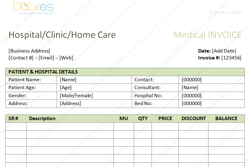 Medical Bills Format Word Dotxes