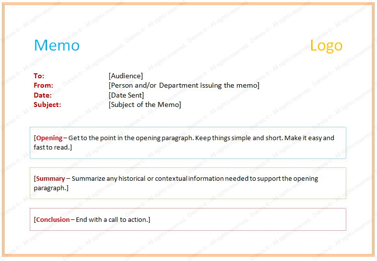 Free memorandum template sample memo letter formal 180.