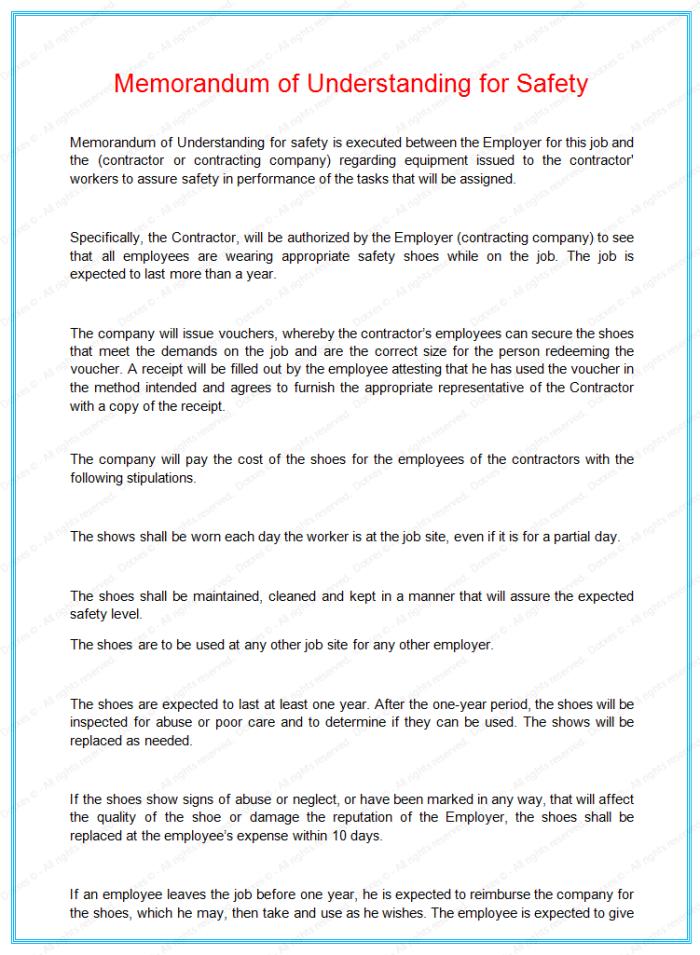 memorandum of understanding for safety