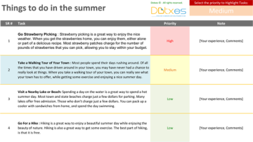 Things to do in the summer – TO DO List