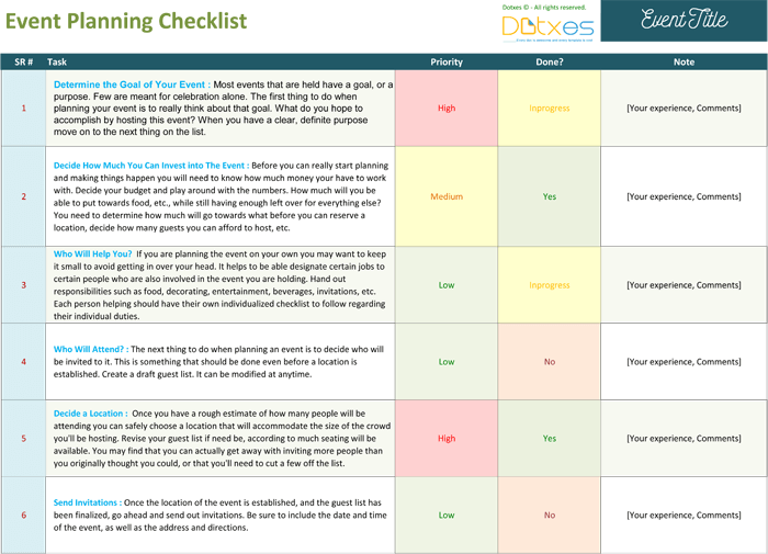 Event planning checklist to keep your event on track for Template for planning an event