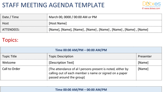Meeting Agenda Template Excel Dotxes