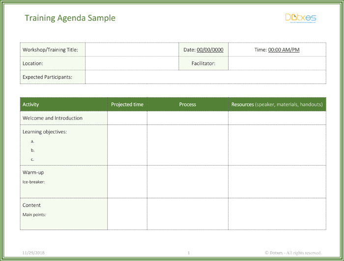 Free Training Agenda Template For Word