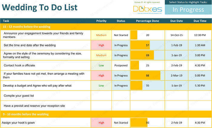 Wedding To Do List Template Excel Dotxes