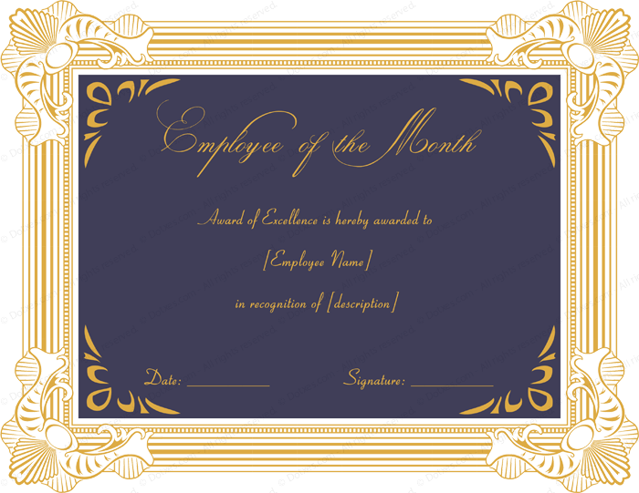 Excellent Employee Performance Award Certificate