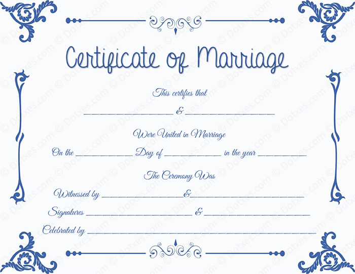 Floral Corner Marriage Certificate Template - Dotxes