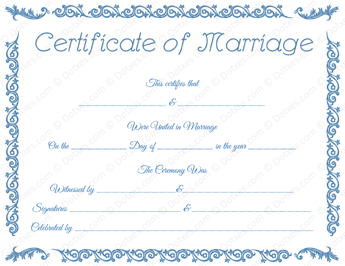 Printable marriage certificate template dotxes for Commemorative certificate template