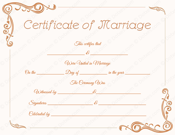 Standard marriage certificate template dotxes printable standard marriage certificate template yelopaper Images