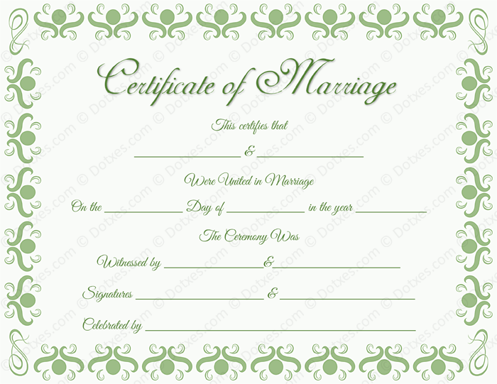 Round Grill Border Marriage Certificate Template Dotxes