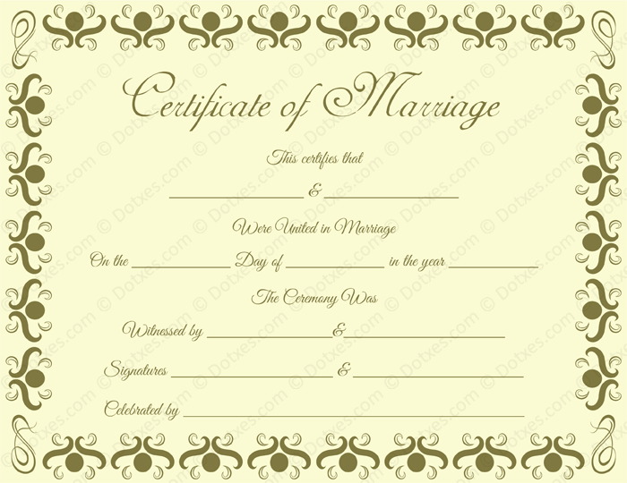 Round Grill Border Marriage Certificate Template - Dotxes