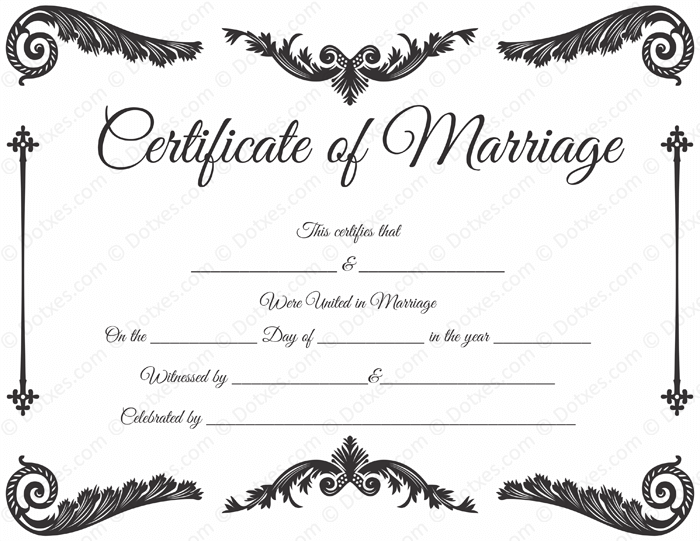 Royal Corner Marriage Certificate Template - Dotxes