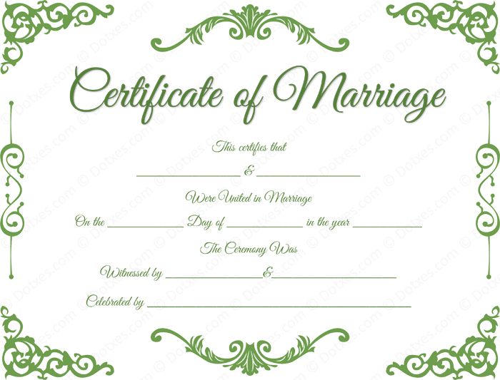 Traditional corner marriage certificate template dotxes for Commemorative certificate template