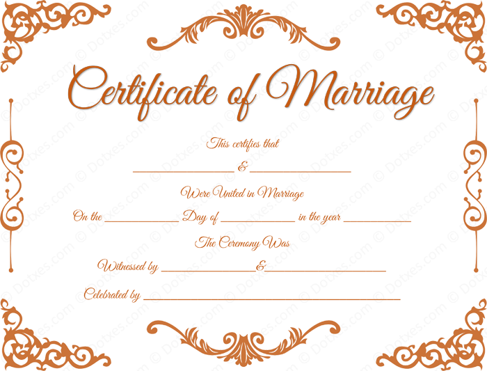 Traditional Corner Marriage Certificate Format